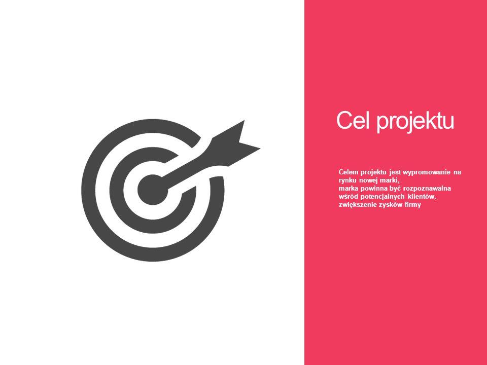 Cel projektu Celem projektu jest wypromowanie na rynku nowej marki, marka powinna być rozpoznawalna wśród potencjalnych klientów, zwiększenie zysków f