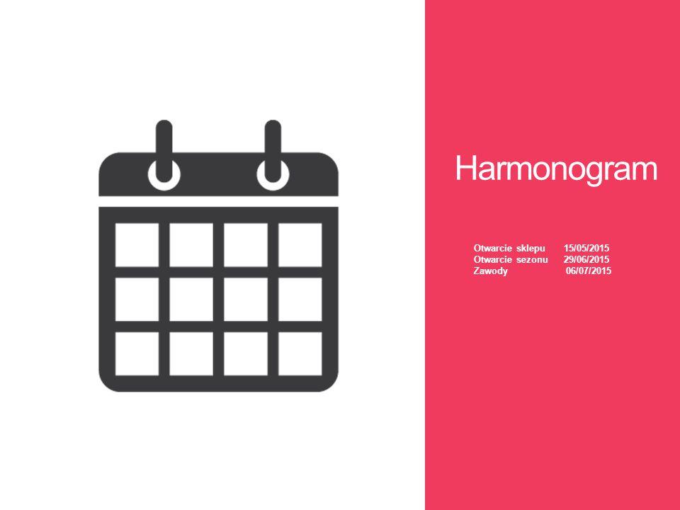 Harmonogram Otwarcie sklepu 15/05/2015 Otwarcie sezonu 29/06/2015 Zawody 06/07/2015