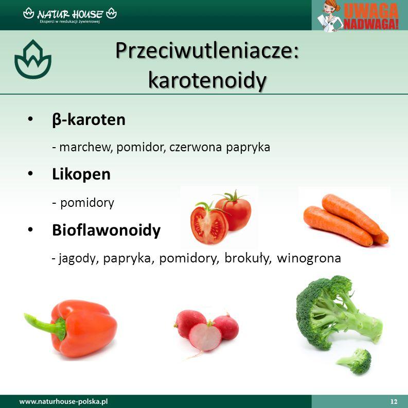 12 Przeciwutleniacze: karotenoidy β-karoten - marchew, pomidor, czerwona papryka Likopen - pomidory Bioflawonoidy - jagody, papryka, pomidory, brokuły, winogrona