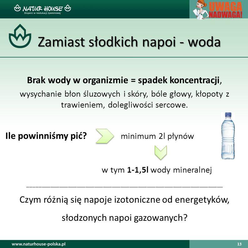 13 Zamiast słodkich napoi - woda Zamiast słodkich napoi - woda Brak wody w organizmie = spadek koncentracji, wysychanie błon śluzowych i skóry, bóle głowy, kłopoty z trawieniem, dolegliwości sercowe.