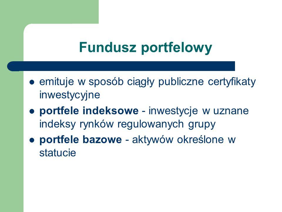 Fundusz portfelowy emituje w sposób ciągły publiczne certyfikaty inwestycyjne portfele indeksowe - inwestycje w uznane indeksy rynków regulowanych gru