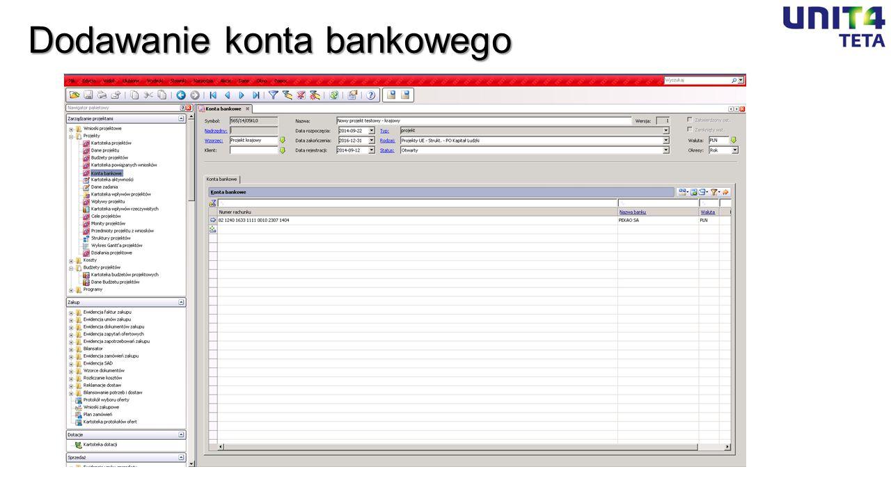 Dodawanie konta bankowego