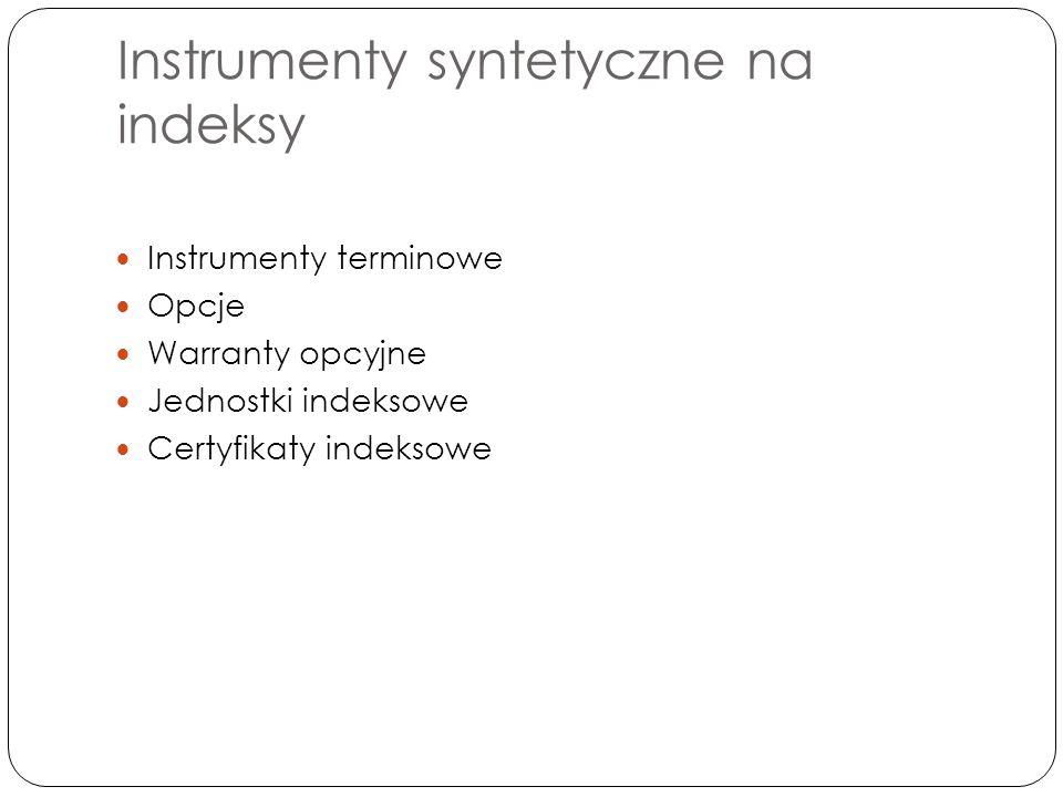 Instrumenty syntetyczne na indeksy Instrumenty terminowe Opcje Warranty opcyjne Jednostki indeksowe Certyfikaty indeksowe