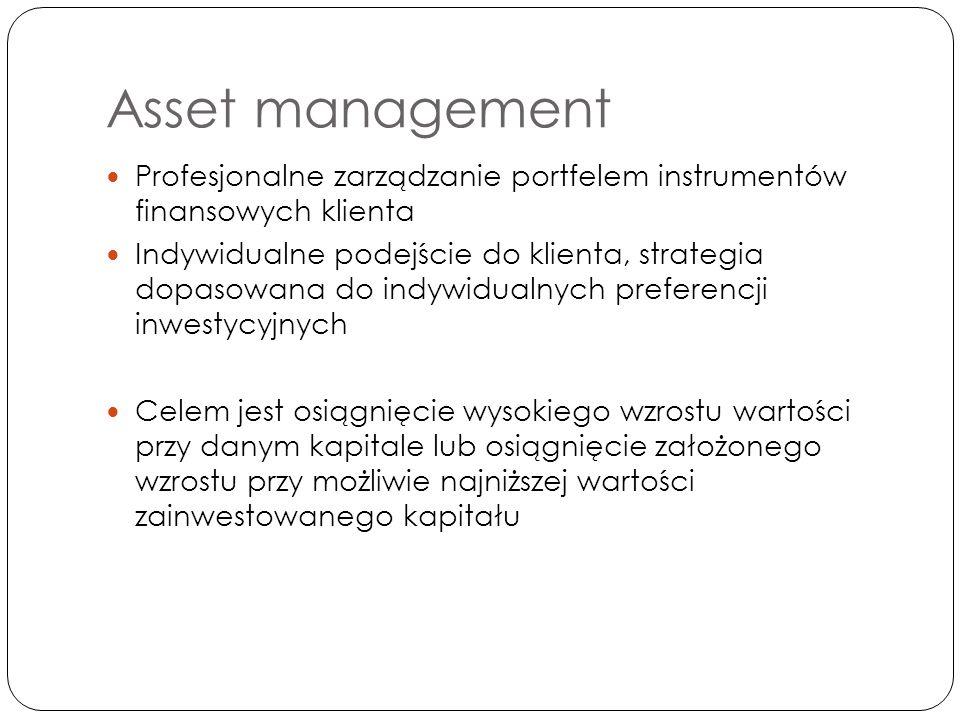 Asset management Profesjonalne zarządzanie portfelem instrumentów finansowych klienta Indywidualne podejście do klienta, strategia dopasowana do indywidualnych preferencji inwestycyjnych Celem jest osiągnięcie wysokiego wzrostu wartości przy danym kapitale lub osiągnięcie założonego wzrostu przy możliwie najniższej wartości zainwestowanego kapitału