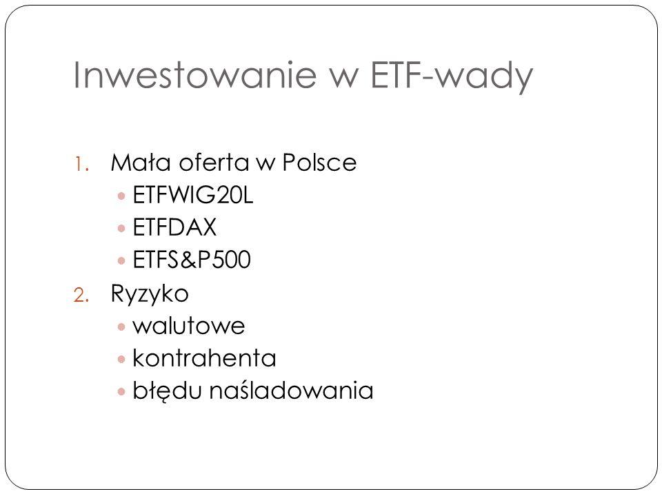 Inwestowanie w ETF-wady 1. Mała oferta w Polsce ETFWIG20L ETFDAX ETFS&P500 2.