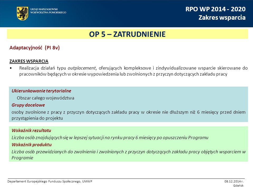 OP 5 – ZATRUDNIENIE RPO WP 2014 - 2020 Zakres wsparcia Adaptacyjność (PI 8v) ZAKRES WSPARCIA Realizacja działań typu outplacement, oferujących komplek
