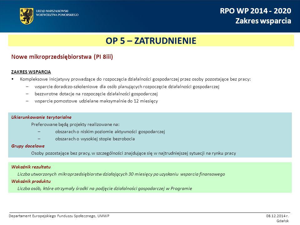 OP 5 – ZATRUDNIENIE RPO WP 2014 - 2020 Zakres wsparcia Nowe mikroprzedsiębiorstwa (PI 8iii) ZAKRES WSPARCIA Kompleksowe inicjatywy prowadzące do rozpo