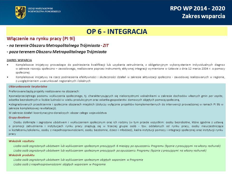 OP 6 - INTEGRACJA RPO WP 2014 - 2020 Zakres wsparcia Włączenie na rynku pracy (PI 9i) - na terenie Obszaru Metropolitalnego Trójmiasta - ZIT - poza te