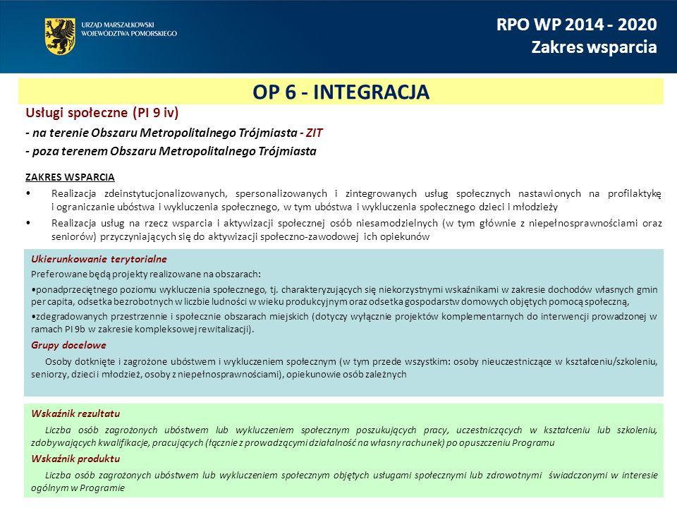 OP 6 - INTEGRACJA RPO WP 2014 - 2020 Zakres wsparcia Usługi społeczne (PI 9 iv) - na terenie Obszaru Metropolitalnego Trójmiasta - ZIT - poza terenem