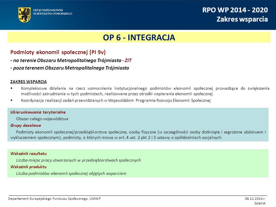 OP 6 - INTEGRACJA RPO WP 2014 - 2020 Zakres wsparcia Podmioty ekonomii społecznej (PI 9v) - na terenie Obszaru Metropolitalnego Trójmiasta - ZIT - poz