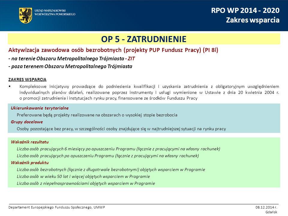 OP 5 - ZATRUDNIENIE RPO WP 2014 - 2020 Zakres wsparcia Aktywizacja zawodowa osób bezrobotnych (projekty PUP Fundusz Pracy) (PI 8i) - na terenie Obszar