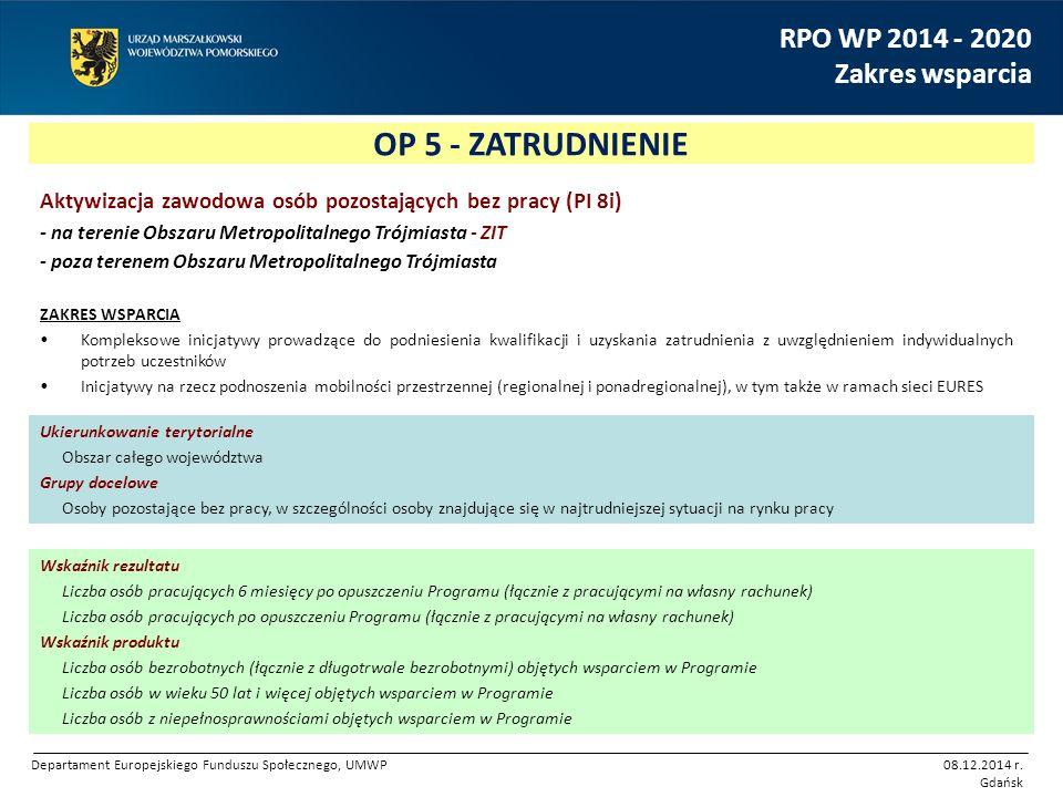 OP 5 - ZATRUDNIENIE RPO WP 2014 - 2020 Zakres wsparcia Aktywizacja zawodowa osób pozostających bez pracy (PI 8i) - na terenie Obszaru Metropolitalnego