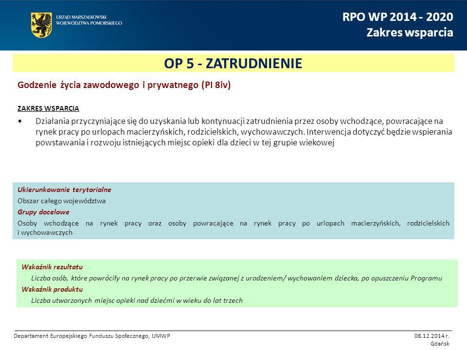 OP 5 - ZATRUDNIENIE RPO WP 2014 - 2020 Zakres wsparcia Godzenie życia zawodowego i prywatnego (PI 8iv) ZAKRES WSPARCIA Działania przyczyniające się do