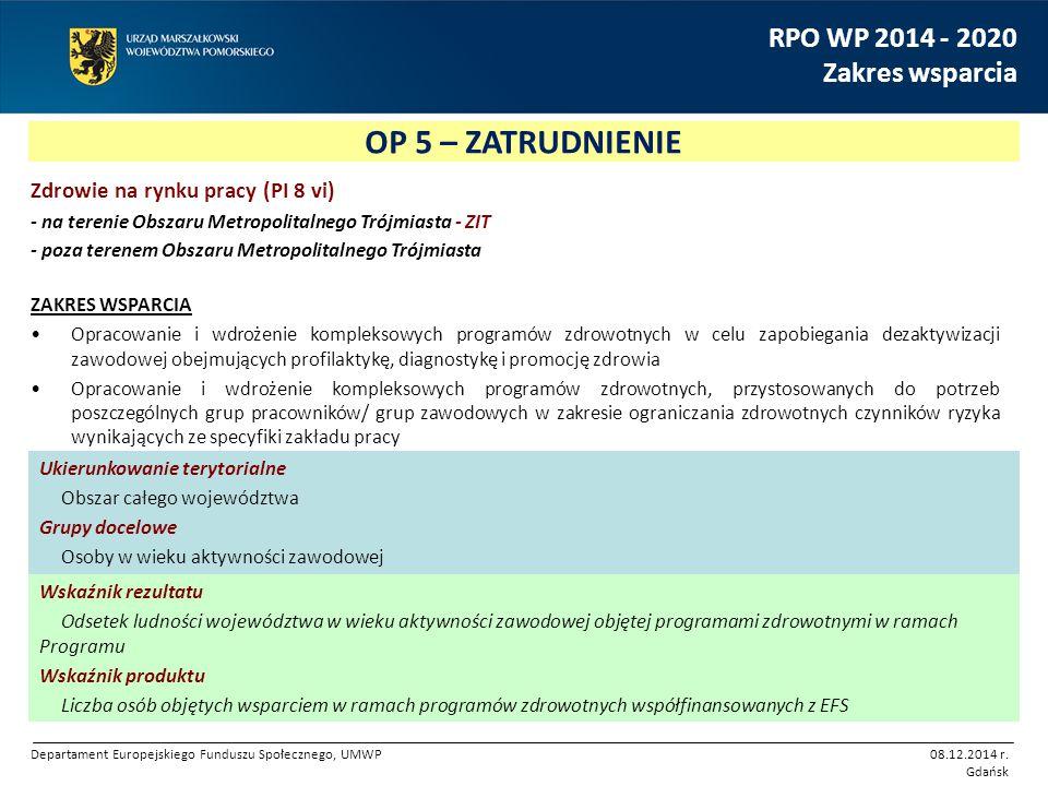 OP 5 – ZATRUDNIENIE RPO WP 2014 - 2020 Zakres wsparcia Zdrowie na rynku pracy (PI 8 vi) - na terenie Obszaru Metropolitalnego Trójmiasta - ZIT - poza