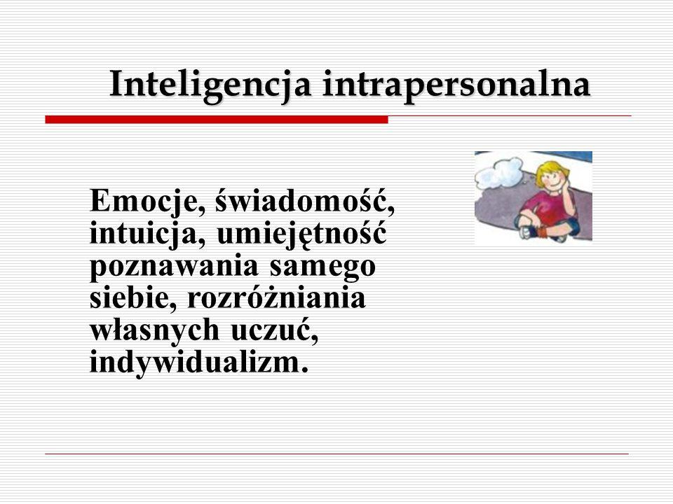 Inteligencja intrapersonalna Emocje, świadomość, intuicja, umiejętność poznawania samego siebie, rozróżniania własnych uczuć, indywidualizm.