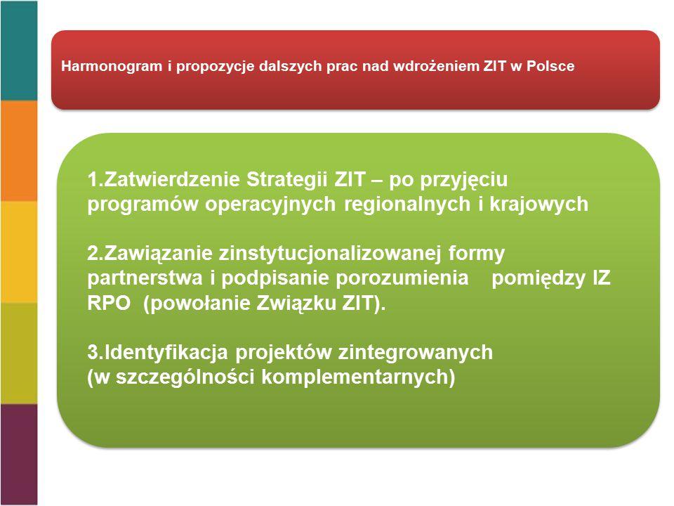 Harmonogram i propozycje dalszych prac nad wdrożeniem ZIT w Polsce 1.Zatwierdzenie Strategii ZIT – po przyjęciu programów operacyjnych regionalnych i krajowych 2.Zawiązanie zinstytucjonalizowanej formy partnerstwa i podpisanie porozumienia pomiędzy IZ RPO (powołanie Związku ZIT).