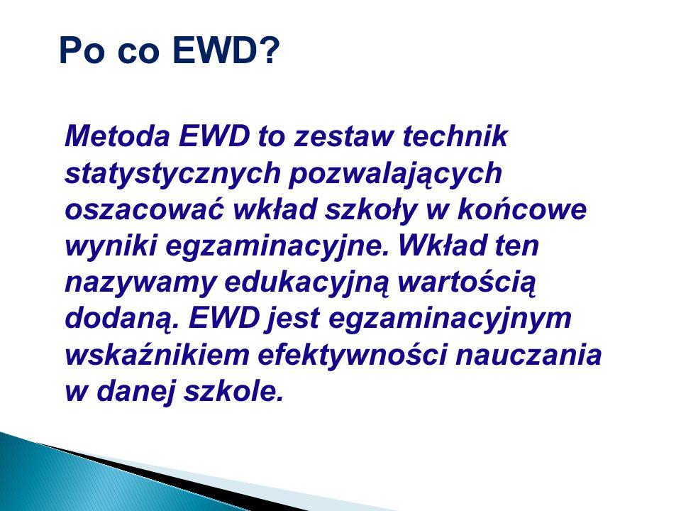 Metoda EWD to zestaw technik statystycznych pozwalających oszacować wkład szkoły w końcowe wyniki egzaminacyjne.