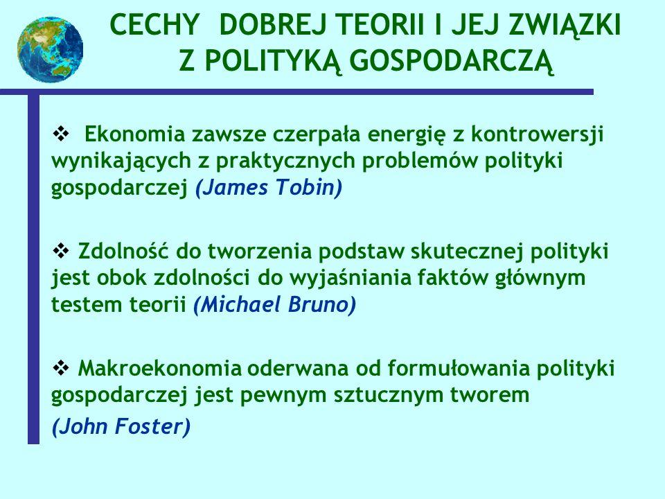 CECHY DOBREJ TEORII I JEJ ZWIĄZKI Z POLITYKĄ GOSPODARCZĄ  Ekonomia zawsze czerpała energię z kontrowersji wynikających z praktycznych problemów polityki gospodarczej (James Tobin)  Zdolność do tworzenia podstaw skutecznej polityki jest obok zdolności do wyjaśniania faktów głównym testem teorii (Michael Bruno)  Makroekonomia oderwana od formułowania polityki gospodarczej jest pewnym sztucznym tworem (John Foster)