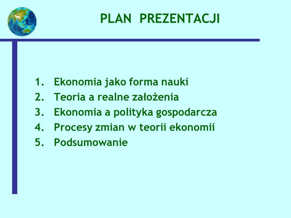 PLAN PREZENTACJI 1.Ekonomia jako forma nauki 2.Teoria a realne założenia 3.Ekonomia a polityka gospodarcza 4.Procesy zmian w teorii ekonomii 5.Podsumo