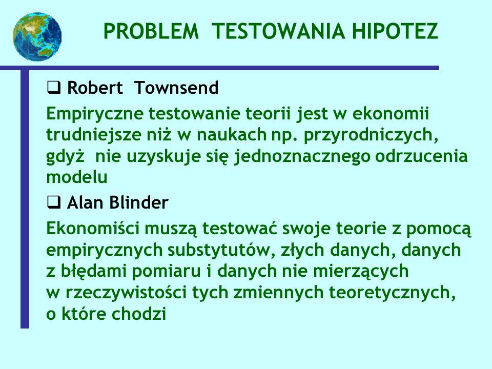 PROBLEM TESTOWANIA HIPOTEZ  Robert Townsend Empiryczne testowanie teorii jest w ekonomii trudniejsze niż w naukach np. przyrodniczych, gdyż nie uzysk