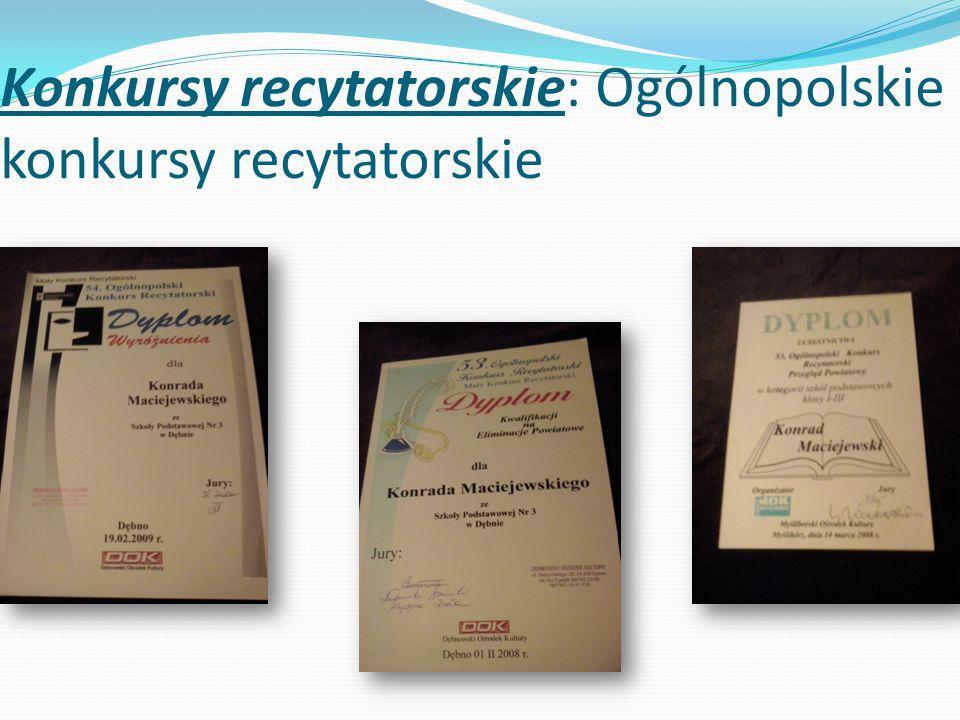 Konkursy recytatorskie: Ogólnopolskie konkursy recytatorskie