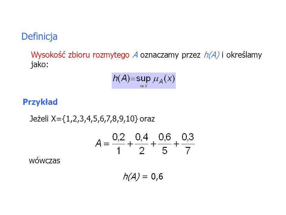 Definicja Wysokość zbioru rozmytego A oznaczamy przez h(A) i określamy jako: Przykład Jeżeli X={1,2,3,4,5,6,7,8,9,10} oraz wówczas h(A) = 0,6