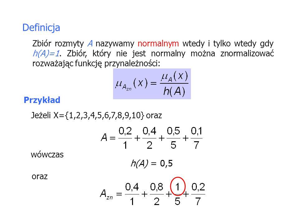 Definicja Zbiór rozmyty A nazywamy normalnym wtedy i tylko wtedy gdy h(A)=1.