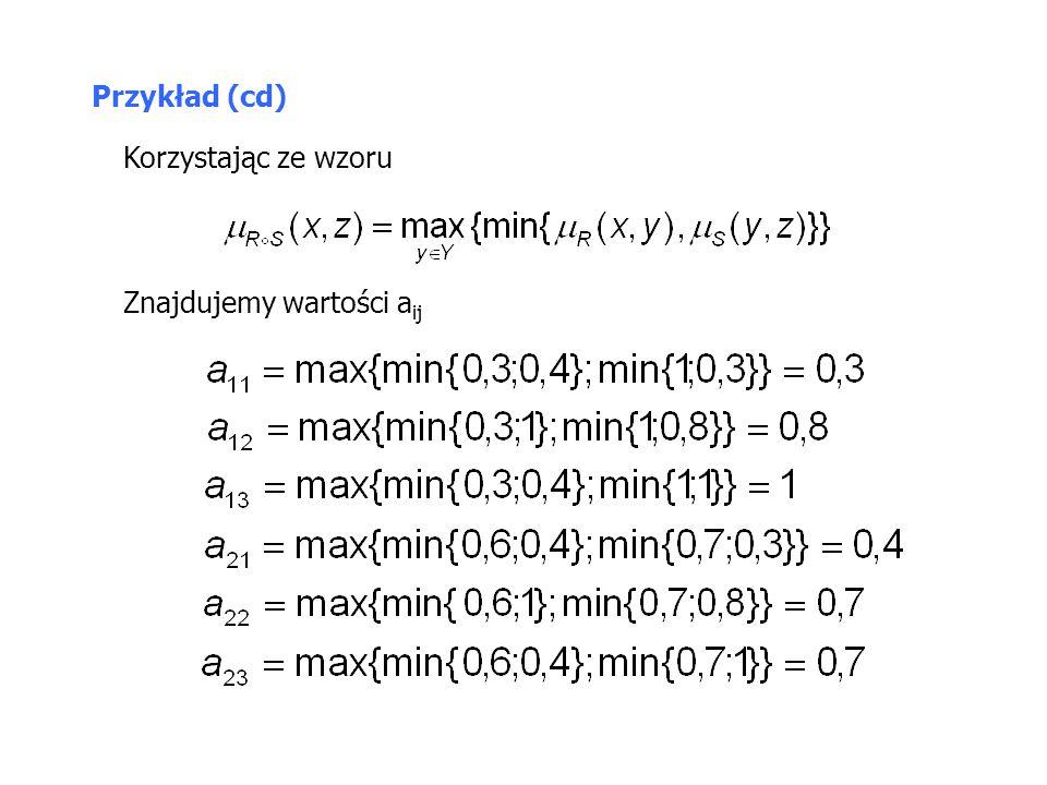 Przykład (cd) Znajdujemy wartości a ij Korzystając ze wzoru