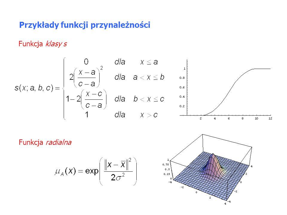 Funkcja klasy  Przykłady funkcji przynależności Funkcja singleton Do zbioru rozmytego A należy tylko.