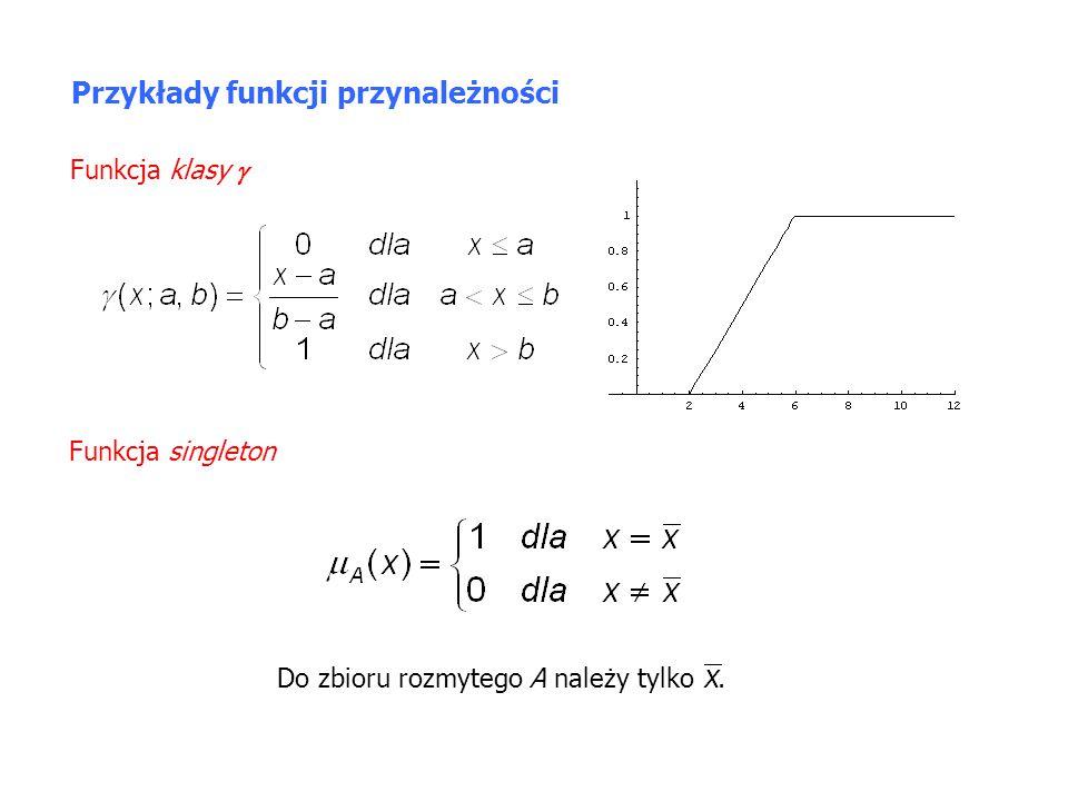 Operacje na zbiorach rozmytych Definicja Przecięciem zbiorów rozmytych A,B  X jest zbiór rozmyty A  B o funkcji przynależności W przypadku wielu zbiorów A 1, A 2,…,A n przecięcie określone jest następującą funkcją przynależności A B ABAB