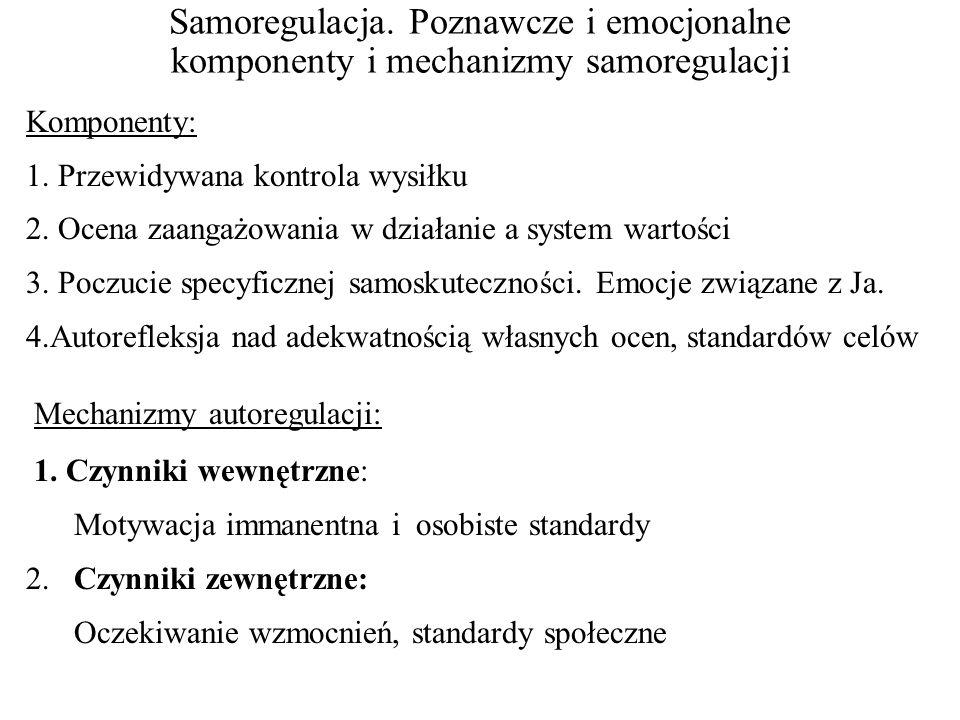 Samoregulacja.Poznawcze i emocjonalne komponenty i mechanizmy samoregulacji Komponenty: 1.
