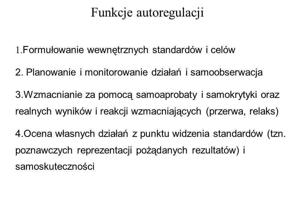 Funkcje autoregulacji 1.Formułowanie wewnętrznych standardów i celów 2.