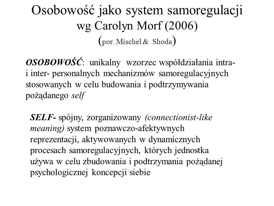Osobowość jako system samoregulacji wg Carolyn Morf (2006) ( por. Mischel & Shoda ) OSOBOWOŚĆ: unikalny wzorzec współdziałania intra- i inter- persona