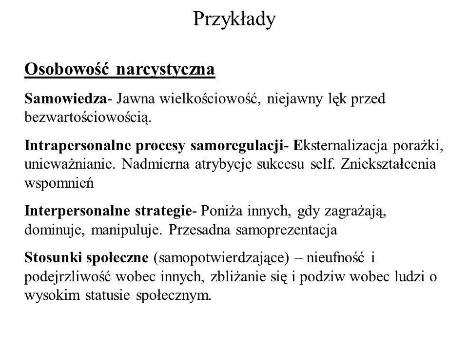Przykłady Osobowość narcystyczna Samowiedza- Jawna wielkościowość, niejawny lęk przed bezwartościowością. Intrapersonalne procesy samoregulacji- Ekste