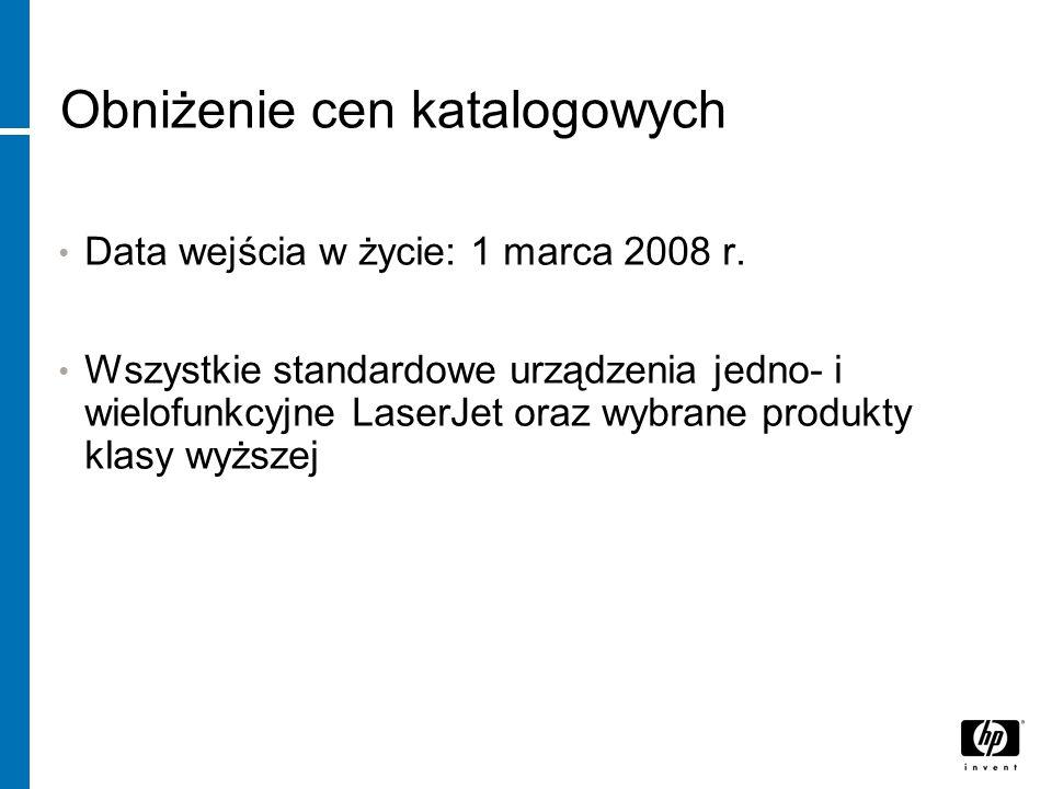 Obniżenie cen katalogowych Data wejścia w życie: 1 marca 2008 r.