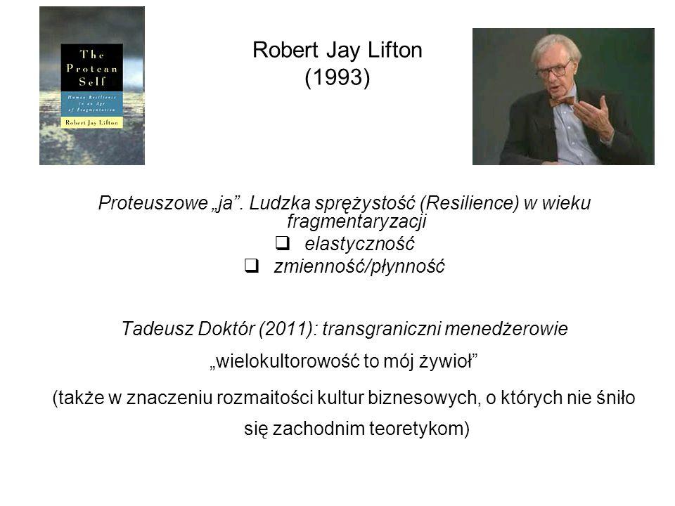 """Robert Jay Lifton (1993) Proteuszowe """"ja"""". Ludzka sprężystość (Resilience) w wieku fragmentaryzacji  elastyczność  zmienność/płynność Tadeusz Doktór"""