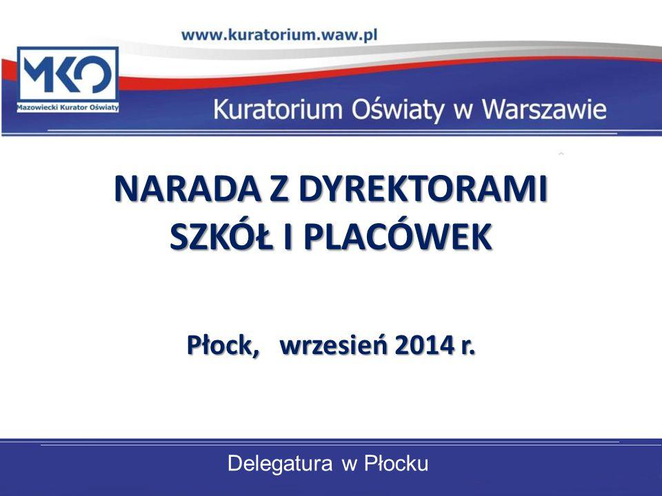 Delegatura w Płocku NARADA Z DYREKTORAMI SZKÓŁ I PLACÓWEK Płock, wrzesień 2014 r.