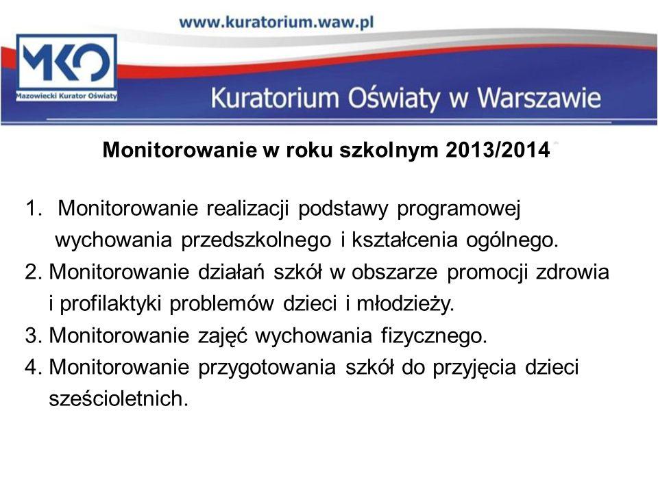 Monitorowanie w roku szkolnym 2013/2014 1.Monitorowanie realizacji podstawy programowej wychowania przedszkolnego i kształcenia ogólnego. 2. Monitorow