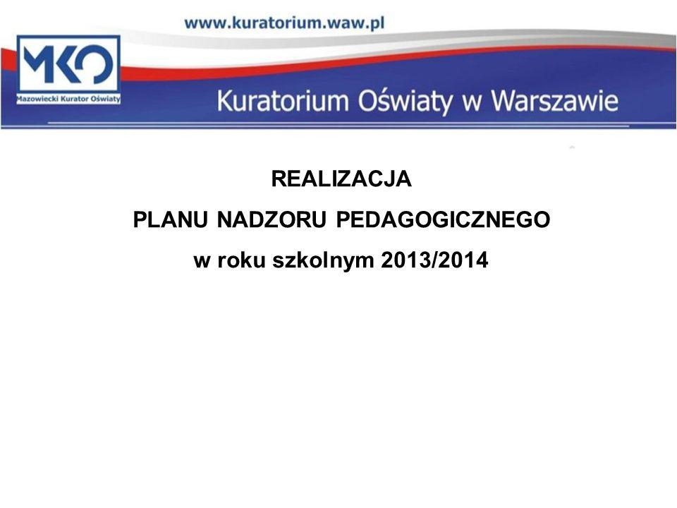 REALIZACJA PLANU NADZORU PEDAGOGICZNEGO w roku szkolnym 2013/2014
