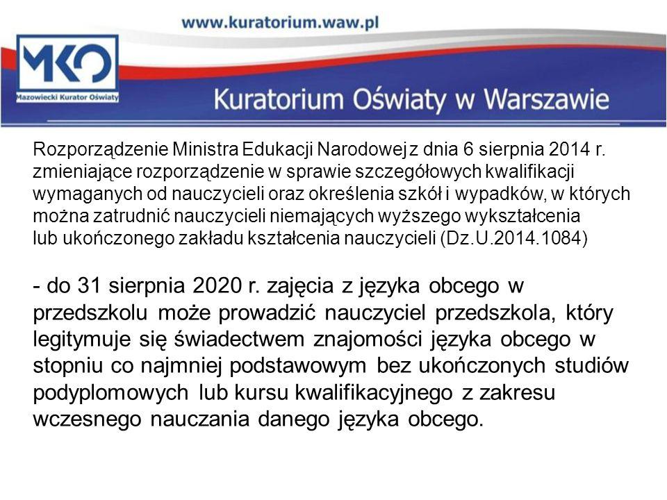 Rozporządzenie Ministra Edukacji Narodowej z dnia 6 sierpnia 2014 r. zmieniające rozporządzenie w sprawie szczegółowych kwalifikacji wymaganych od nau