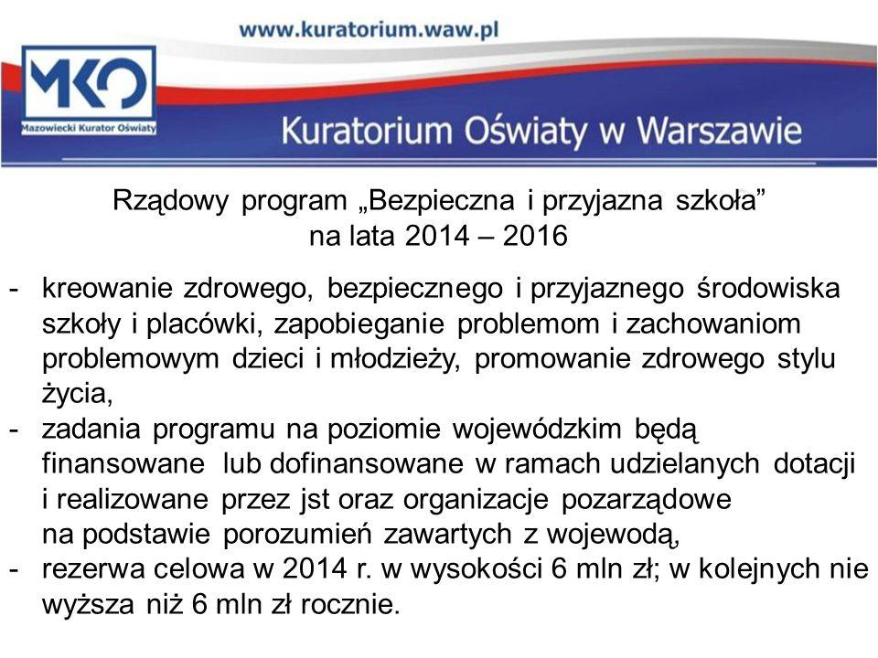 """Rządowy program """"Bezpieczna i przyjazna szkoła"""" na lata 2014 – 2016 -kreowanie zdrowego, bezpiecznego i przyjaznego środowiska szkoły i placówki, zapo"""