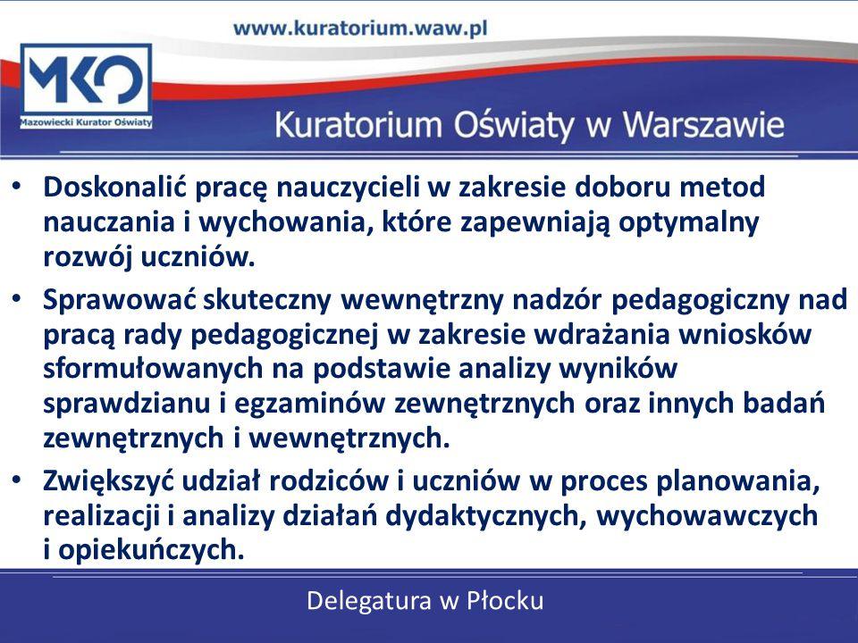 Delegatura w Płocku Doskonalić pracę nauczycieli w zakresie doboru metod nauczania i wychowania, które zapewniają optymalny rozwój uczniów. Sprawować