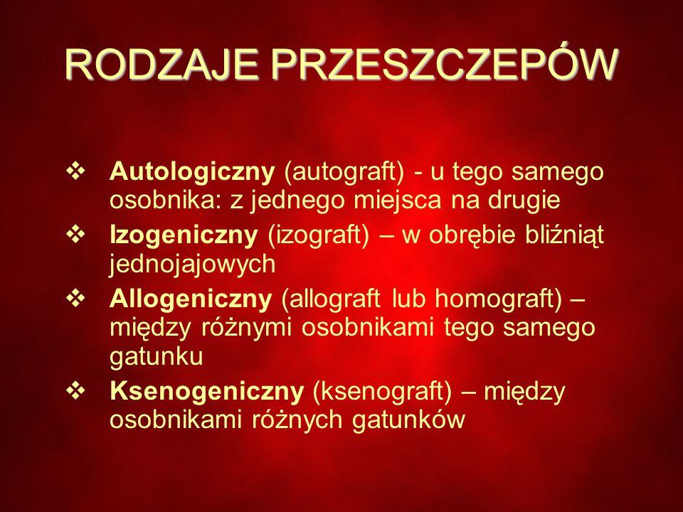 RODZAJE PRZESZCZEPÓW  Autologiczny (autograft) - u tego samego osobnika: z jednego miejsca na drugie  Izogeniczny (izograft) – w obrębie bliźniąt jednojajowych  Allogeniczny (allograft lub homograft) – między różnymi osobnikami tego samego gatunku  Ksenogeniczny (ksenograft) – między osobnikami różnych gatunków