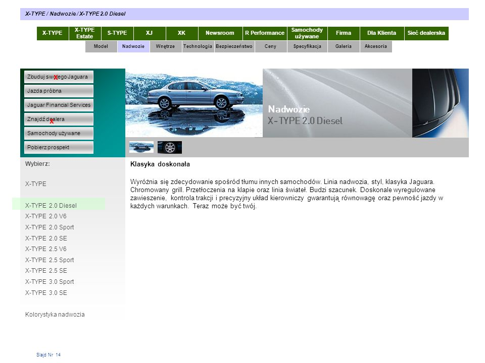 Slajd Nr 14 Klasyka doskonała Wyróżnia się zdecydowanie spośród tłumu innych samochodów. Linia nadwozia, styl, klasyka Jaguara. Chromowany grill. Prze