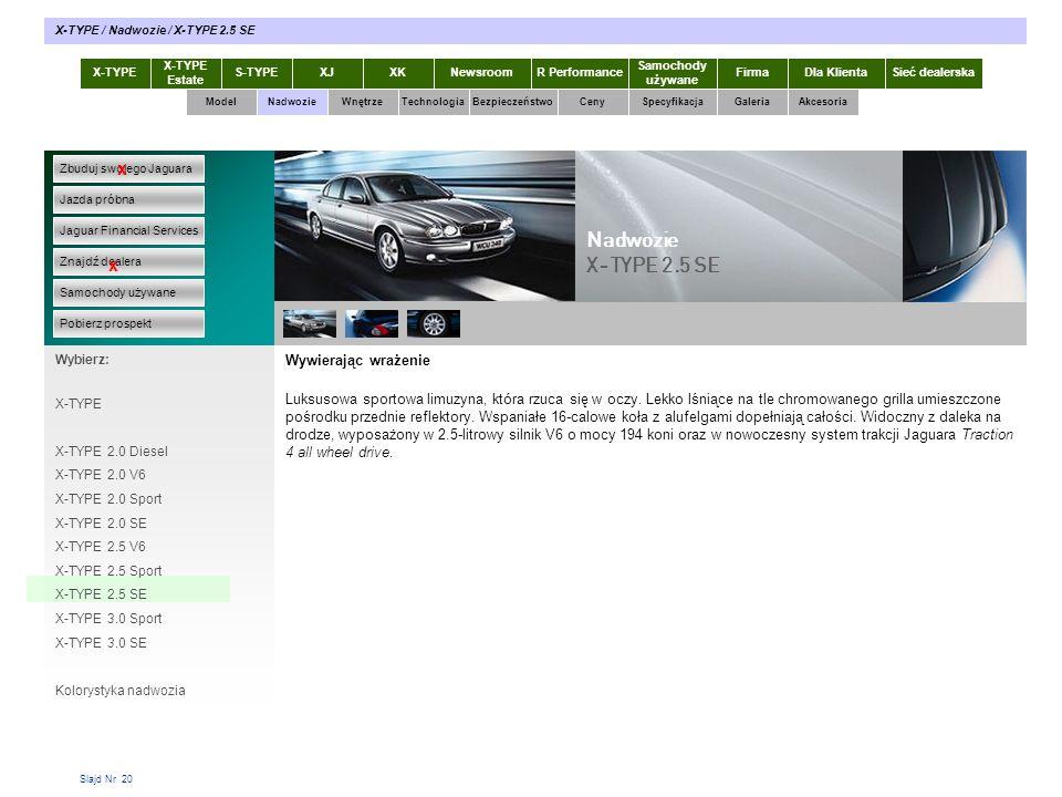 Slajd Nr 20 Wywierając wrażenie Luksusowa sportowa limuzyna, która rzuca się w oczy. Lekko lśniące na tle chromowanego grilla umieszczone pośrodku prz