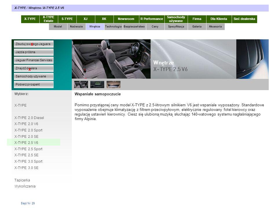 Slajd Nr 29 Wspaniałe samopoczucie Pomimo przystępnej ceny model X-TYPE z 2.5-litrowym silnikiem V6 jest wspaniale wyposażony. Standardowe wyposażenie