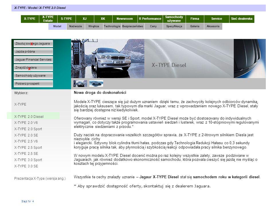 Slajd Nr 4 Nowa droga do doskonałości Modele X-TYPE cieszące się już dużym uznaniem dzięki temu, że zachwyciły kolejnych odbiorców dynamiką, jakością oraz luksusem, tak typowym dla marki Jaguar, wraz z wprowadzeniem nowego X-TYPE Diesel, stały się bardziej dostępne niż kiedykolwiek.