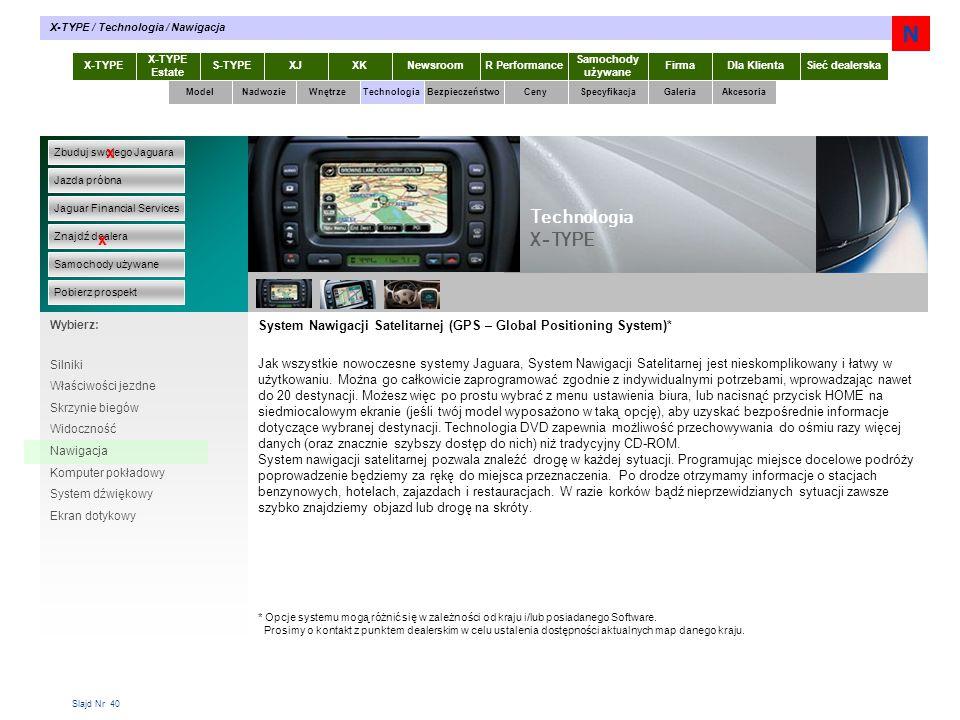Slajd Nr 40 System Nawigacji Satelitarnej (GPS – Global Positioning System)* Jak wszystkie nowoczesne systemy Jaguara, System Nawigacji Satelitarnej j