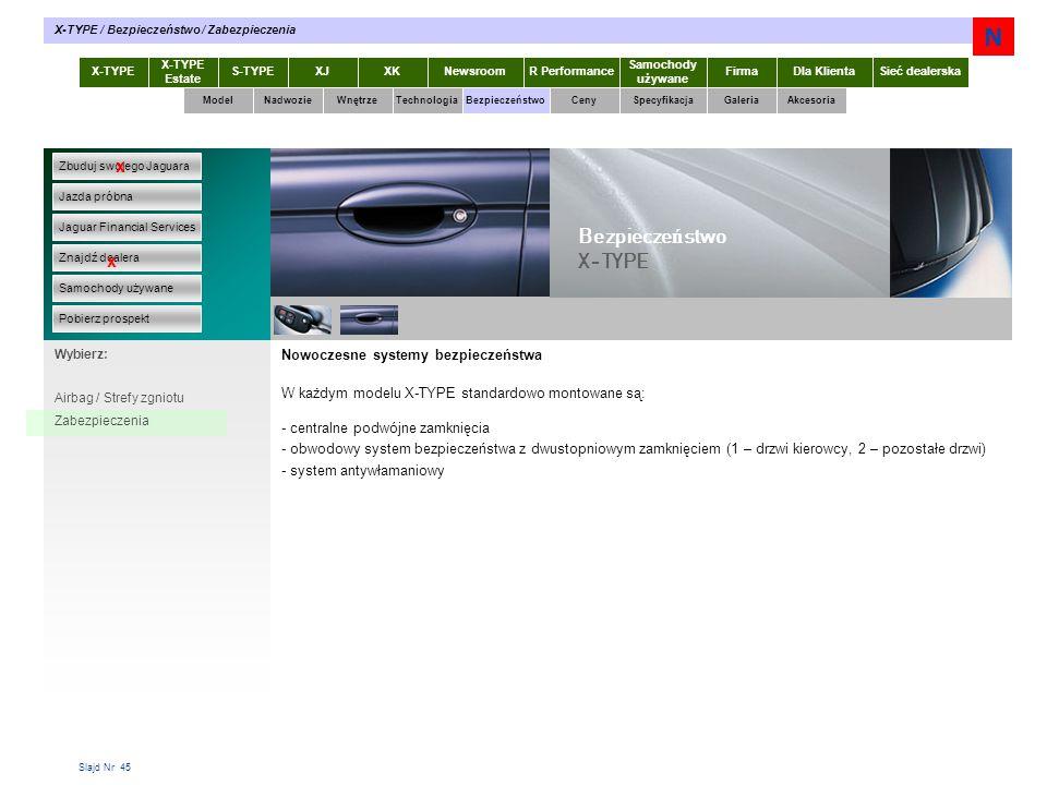 Slajd Nr 45 Nowoczesne systemy bezpieczeństwa W każdym modelu X-TYPE standardowo montowane są: - centralne podwójne zamknięcia - obwodowy system bezpieczeństwa z dwustopniowym zamknięciem (1 – drzwi kierowcy, 2 – pozostałe drzwi) - system antywłamaniowy X-TYPE Estate S-TYPEXJXKR Performance Samochody używane Dla KlientaSieć dealerskaNewsroomFirma ModelTechnologiaBezpieczeństwoCenySpecyfikacjaGaleriaAkcesoriaWnętrze X-TYPE / Bezpieczeństwo / Zabezpieczenia Zbuduj swojego Jaguara Jazda próbna Jaguar Financial Services Znajdź dealera Samochody używane Pobierz prospekt x x Wybierz: Bezpiecze ń stwo X-TYPE Airbag / Strefy zgniotu Zabezpieczenia Nadwozie N