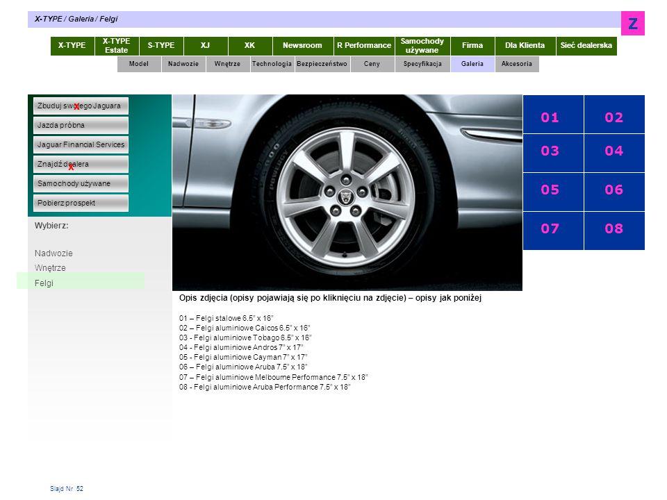 Slajd Nr 52 X-TYPE Estate S-TYPEXJXKR Performance Samochody używane Dla KlientaSieć dealerskaNewsroomFirma ModelTechnologiaBezpieczeństwoCenySpecyfika